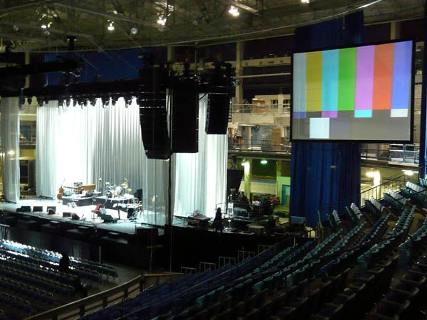 Leonard Cohen in Saskatoon ~ Picture of the projection system installation.