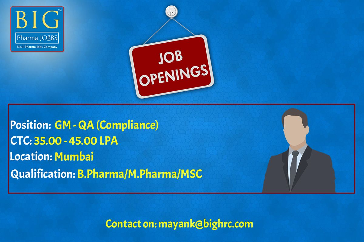 Job Openings in the Pharma Sector. For more Visit http
