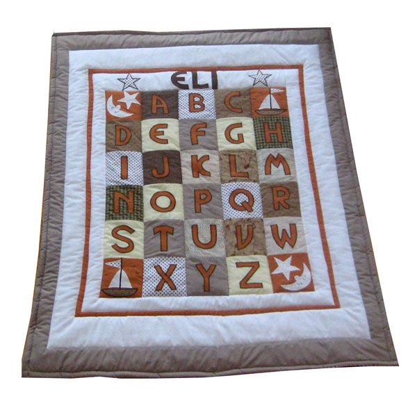 WE love this masculine brown ABC quilt for a personalized baby gift.