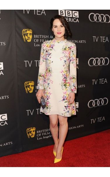 Michelle Dockery Erdem dress, EF Collection jewelry, Christian Louboutin shoes September 21, 2013