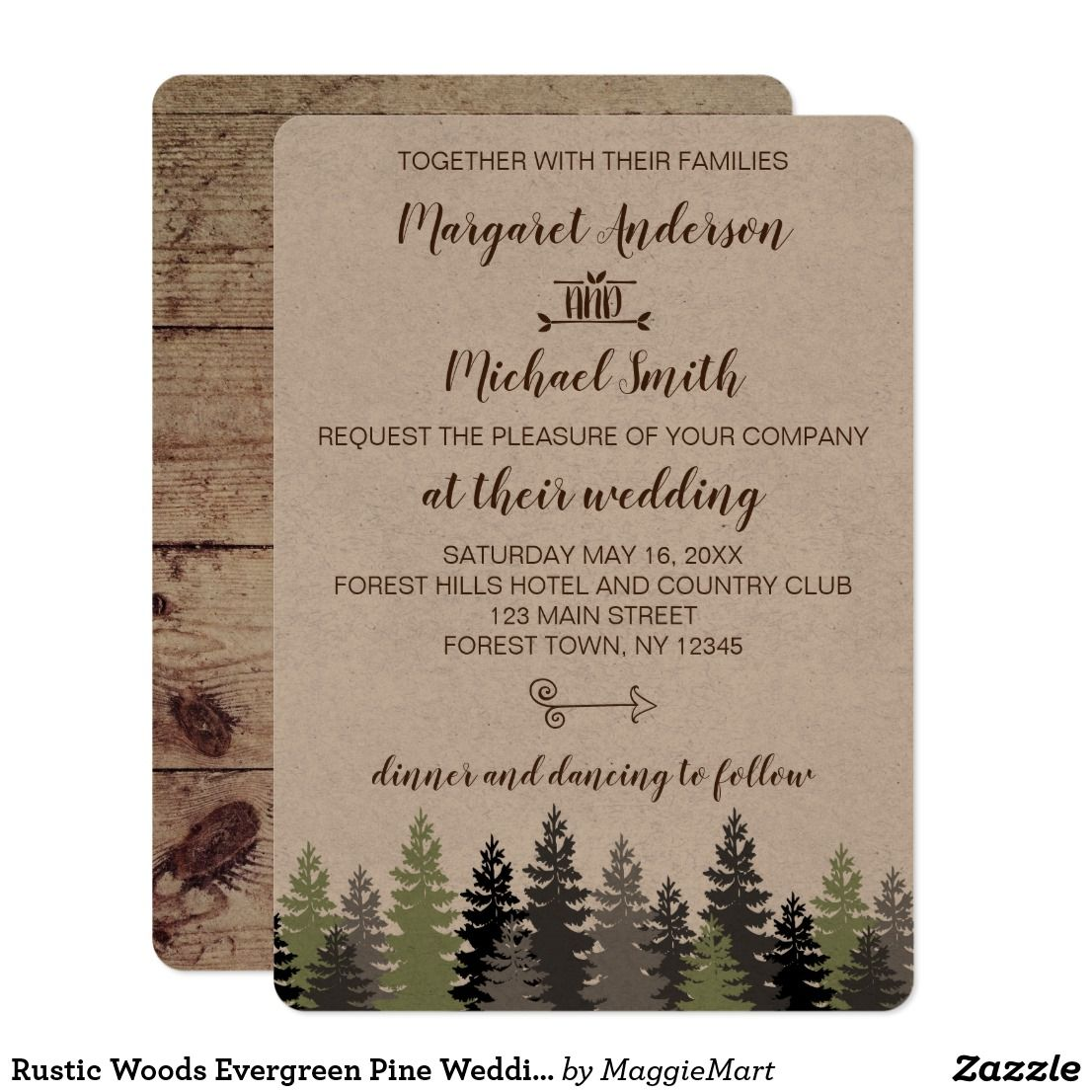 Rustic Woods Evergreen Pine Wedding Invitation Weddings