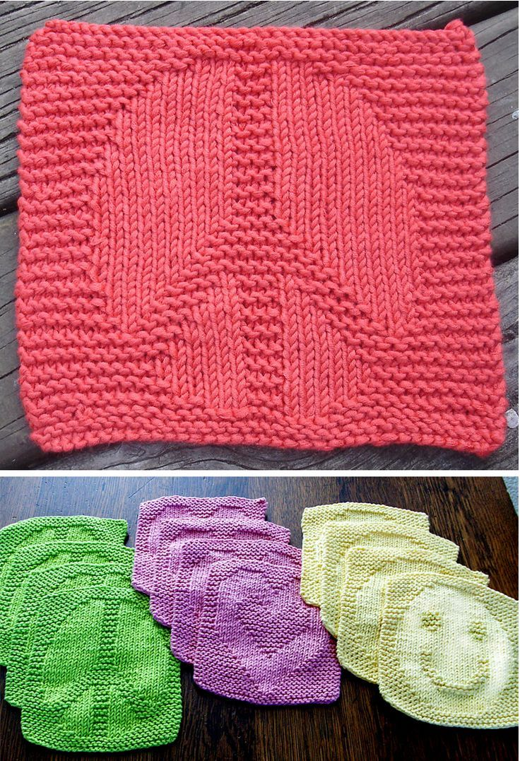 Free Knitting Pattern for Peace, Love, and Happiness Wash Cloths ...