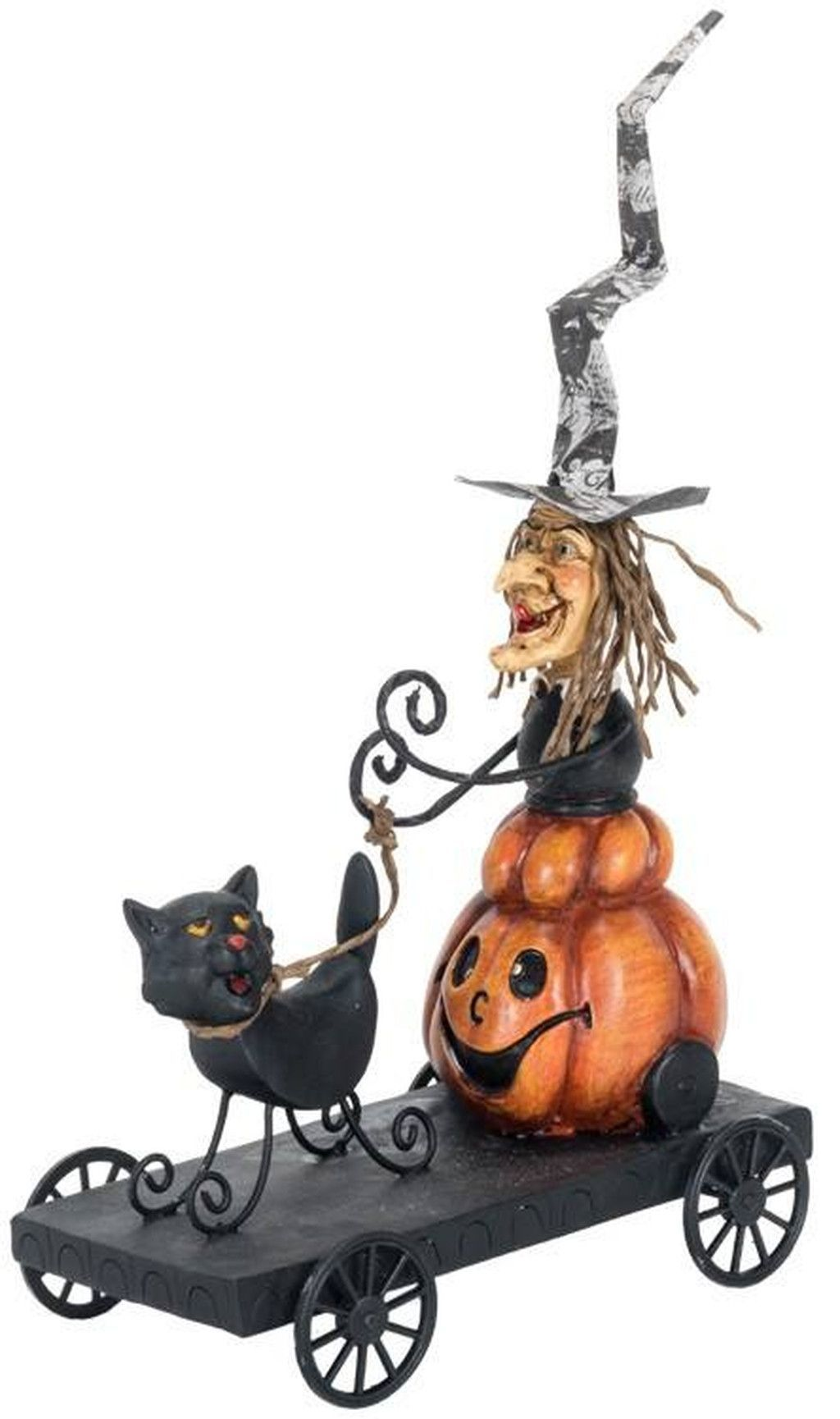 Large Resin Jol Body Witch & Cat on Wagon