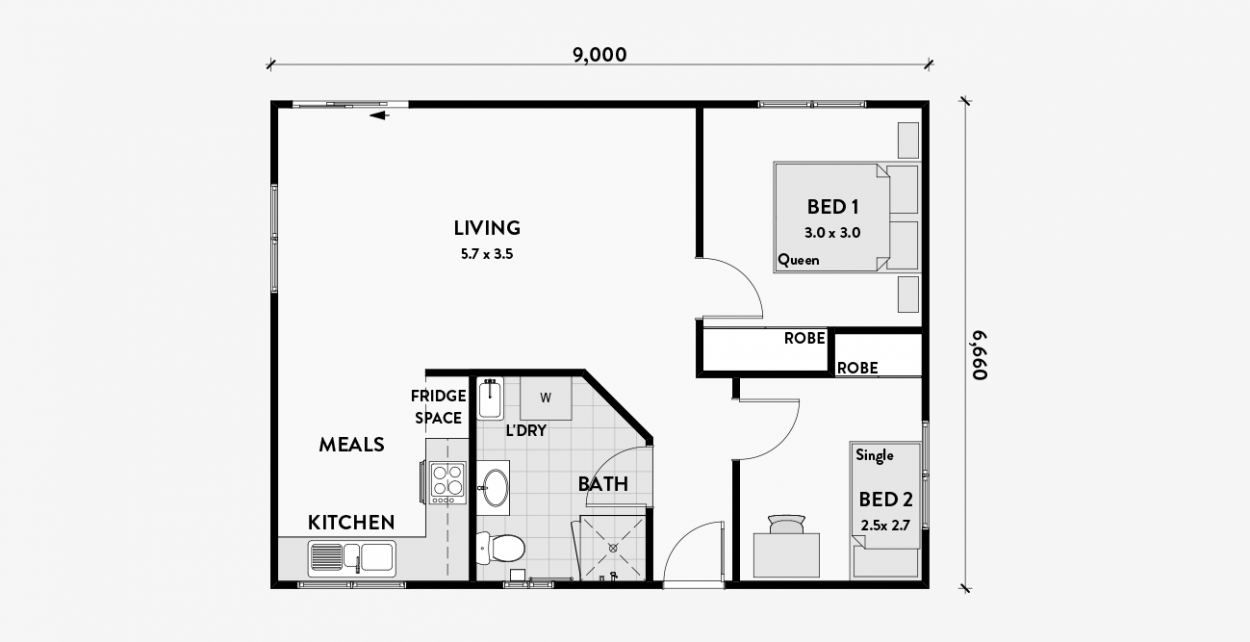 Gala 2br 60m2 Floor Plans Small House Plans Granny Flat