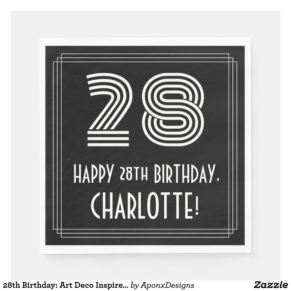 28th birthday art deco inspired look 28 name napkins