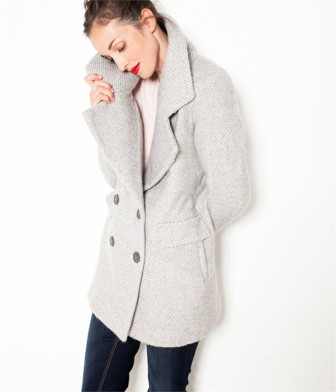 vente caban femme gris t36 grosse piece camaieu un manteau femme qui nous jacket. Black Bedroom Furniture Sets. Home Design Ideas