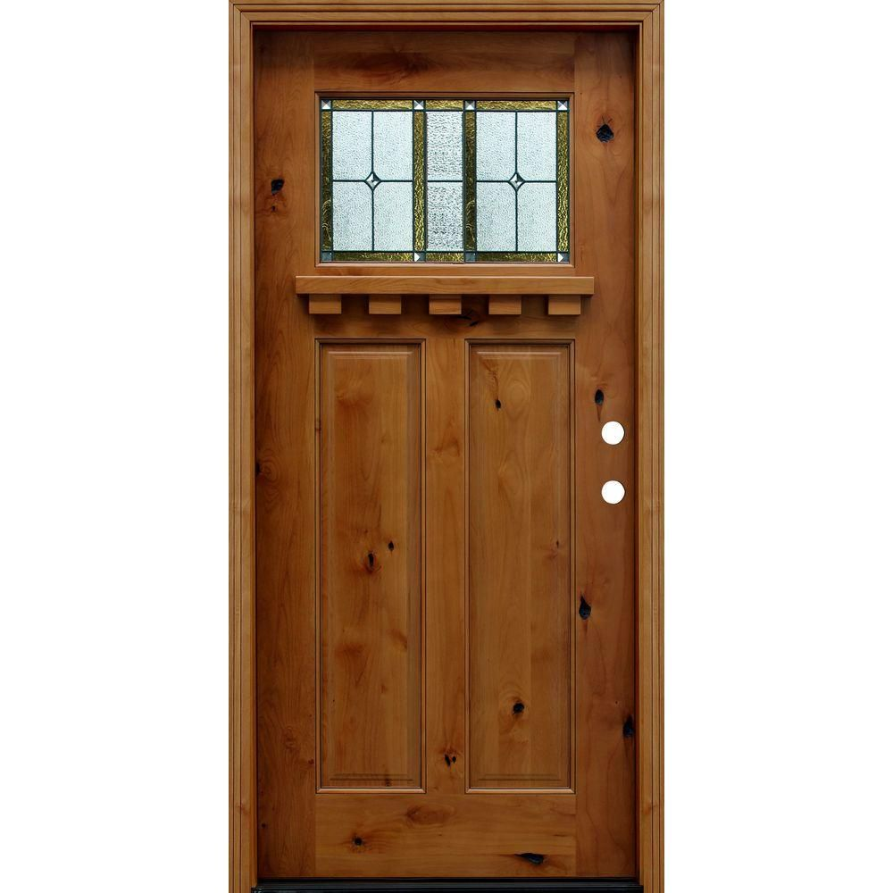 Pacific Entries 36 In X 80 In Craftsman Rustic 1 4 Lite Stained Knotty Alder Wood Prehung Front Doo Wooden Front Doors Craftsman Front Doors Wood Front Doors