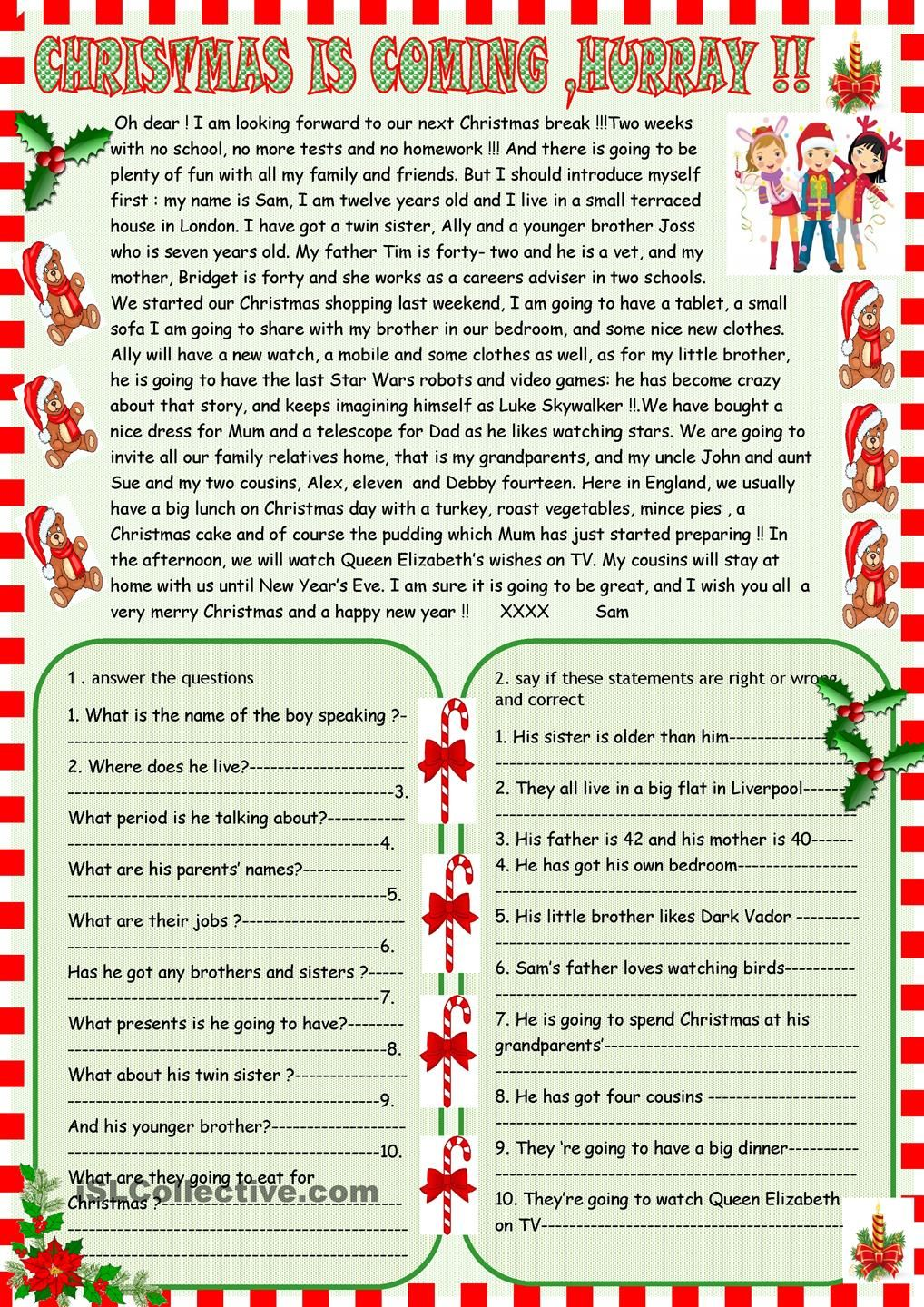 Christmas Is Coming Reading Comprehension Christmas Reading Comprehension Christmas Reading Christmas Worksheets Free christmas reading worksheets for