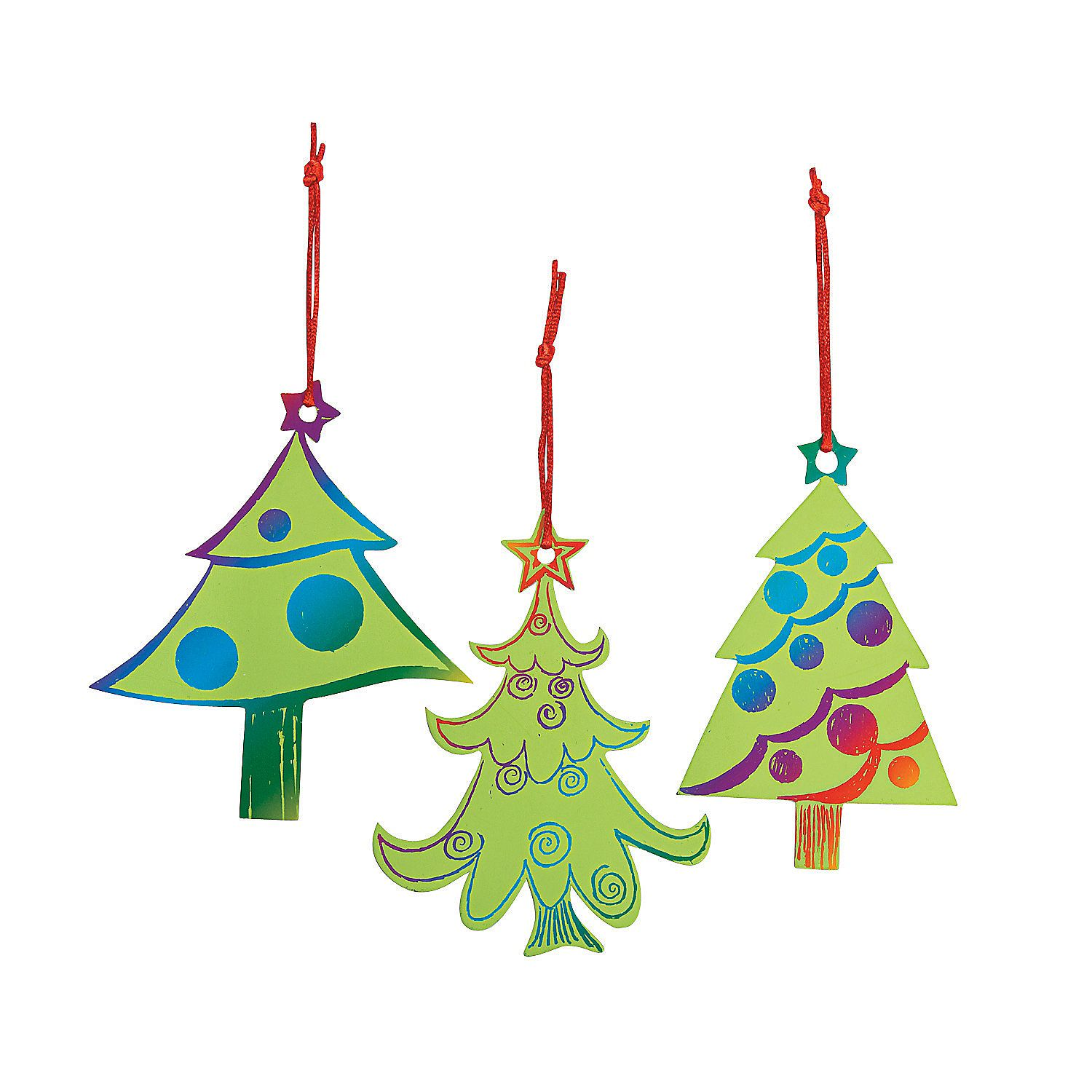 Magic Color Scratch Green Christmas Tree Ornaments | Green christmas ...