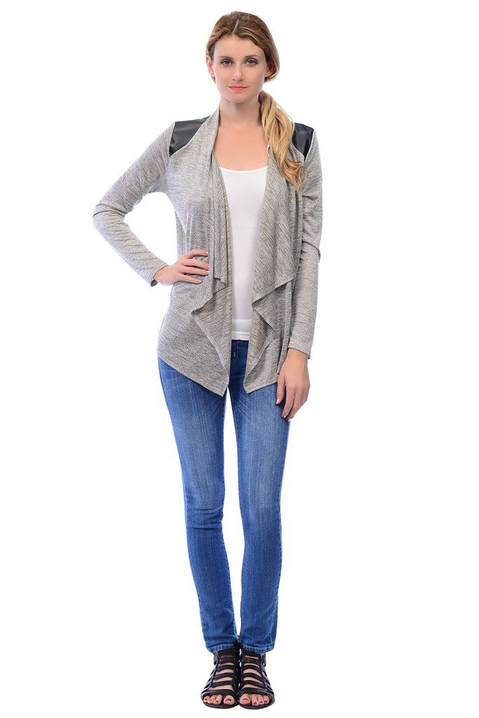 Lightweight Perfect for any ocasion. #cardigan #faux leather #drap