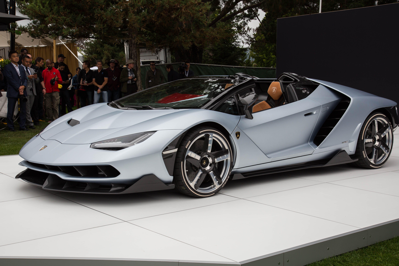 Lamborghini Centenario Roadster Soaks Up The Sun At Pebble Beach Supercars For Sale Super Cars Roadsters