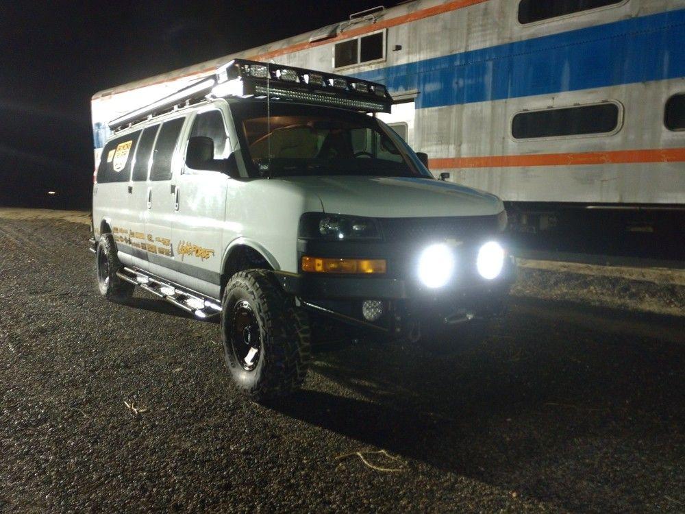 Chevrolet Express With Lightforce Lights With Images Gmc Vans Chevrolet Van Cool Vans