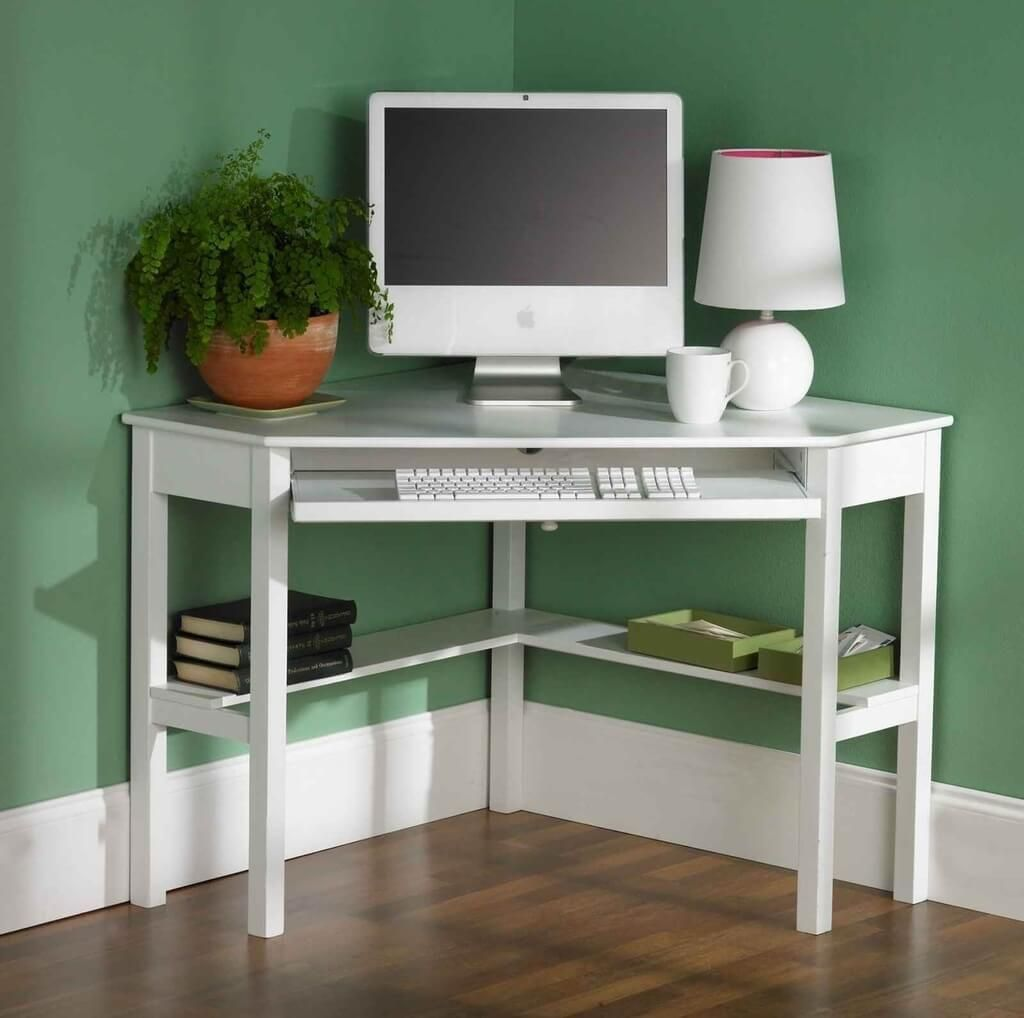 Furniture Art Deco White Painted Wooden Corner Computer Table With Bottom Shelf Desk Small Room