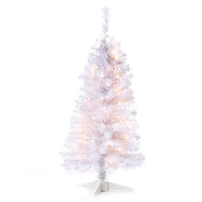 4 pre lit artificial christmas tree white tinsel clear lights looks great in a small apartment biglots - Big Lots White Christmas Tree