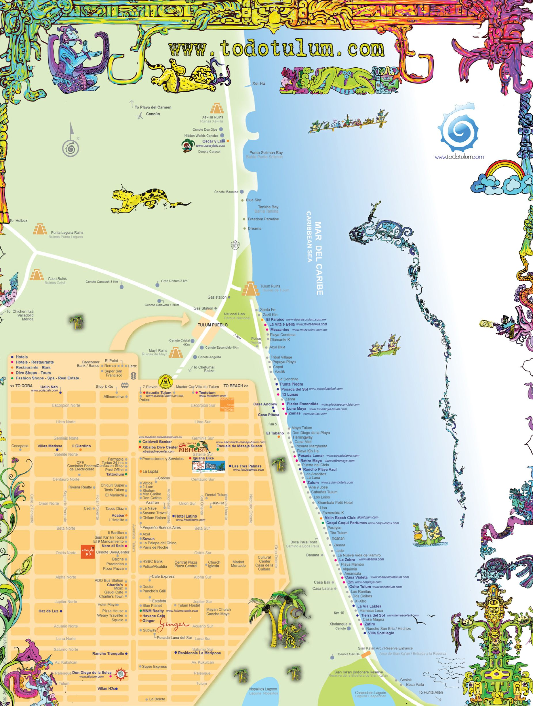 tulum tourist map tulum mexico u2022 mappery things to do http