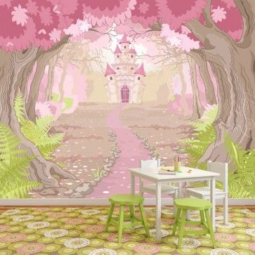 Princess Castle In Enchanted Wood Fairytale Wall Mural Kids Photo