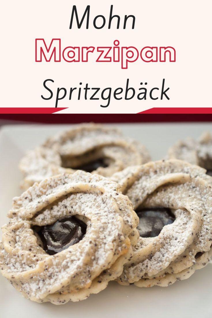Mohn Marzipan Spritzgebäck (Mohn Marzipan Kringel Plätzchen) #shortbreadcookies