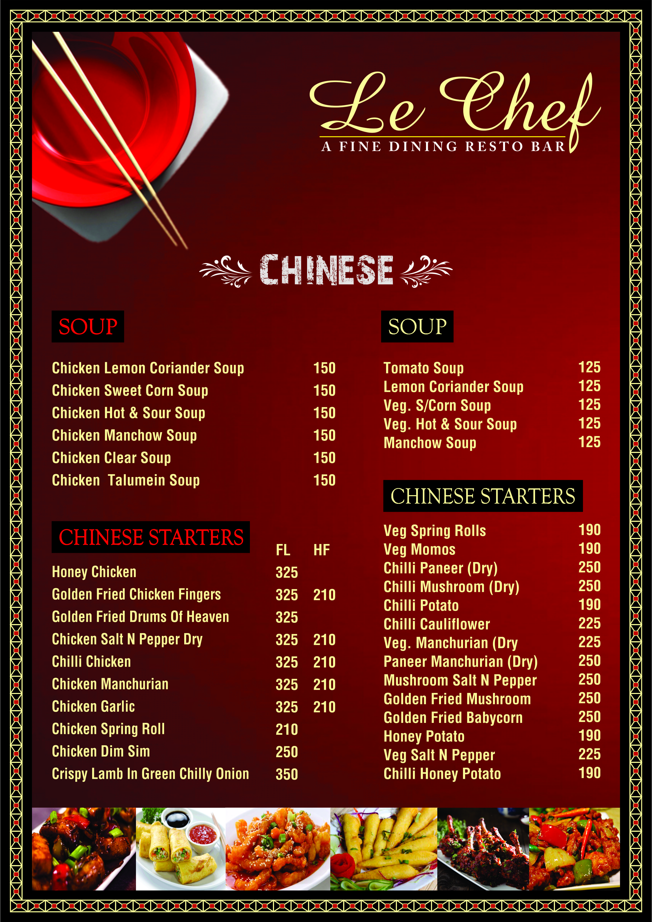 Le Chef Resto Delicious Indian Chinese Continental Food Menu Veg Restaurant Sweet Corn Soup Hot And Sour Soup