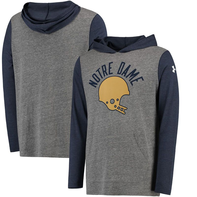 Notre Dame Fighting Irish Under Armour Iconic Tri-Blend Performance Hoodie - Heathered Gray/Navy