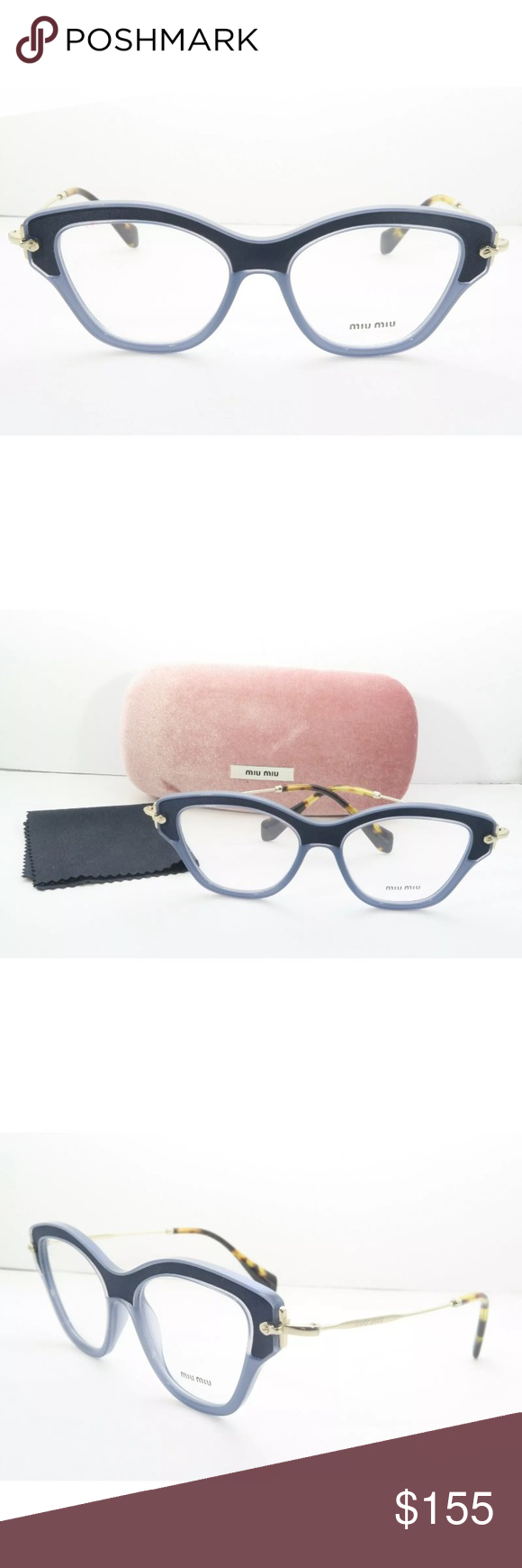 e33cc20d271 Miu Miu Eyeglasses 07O Blue Frame New with clear lens Comes with Miu Miu  Case Authentic Miu Miu Accessories Glasses