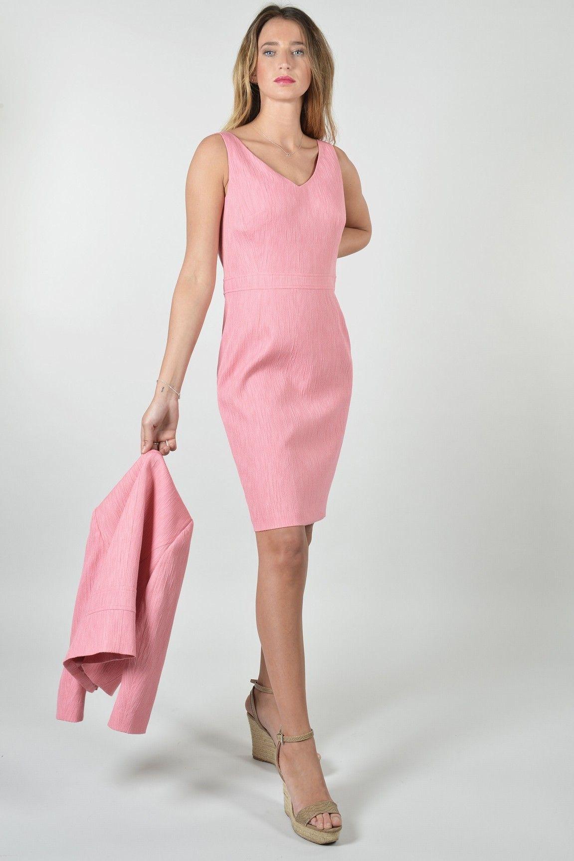 9d8a696d4bd Poudre robe - Antonelle Réf   17RO5985 Robe forme crayon POUDRE en maille  jacquard façon crêpon