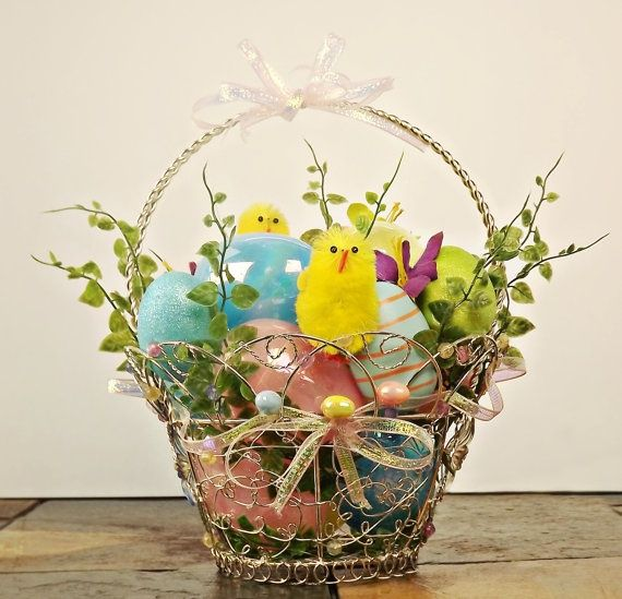 Silk flower easter basket centerpiece by flower arrangements easter silk flower easter basket centerpiece negle Images