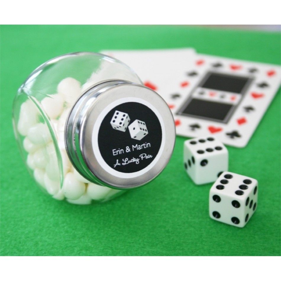 A Lucky Pair Vegas Themed Candy Jars EB2059 Personalized Wholesale Wedding