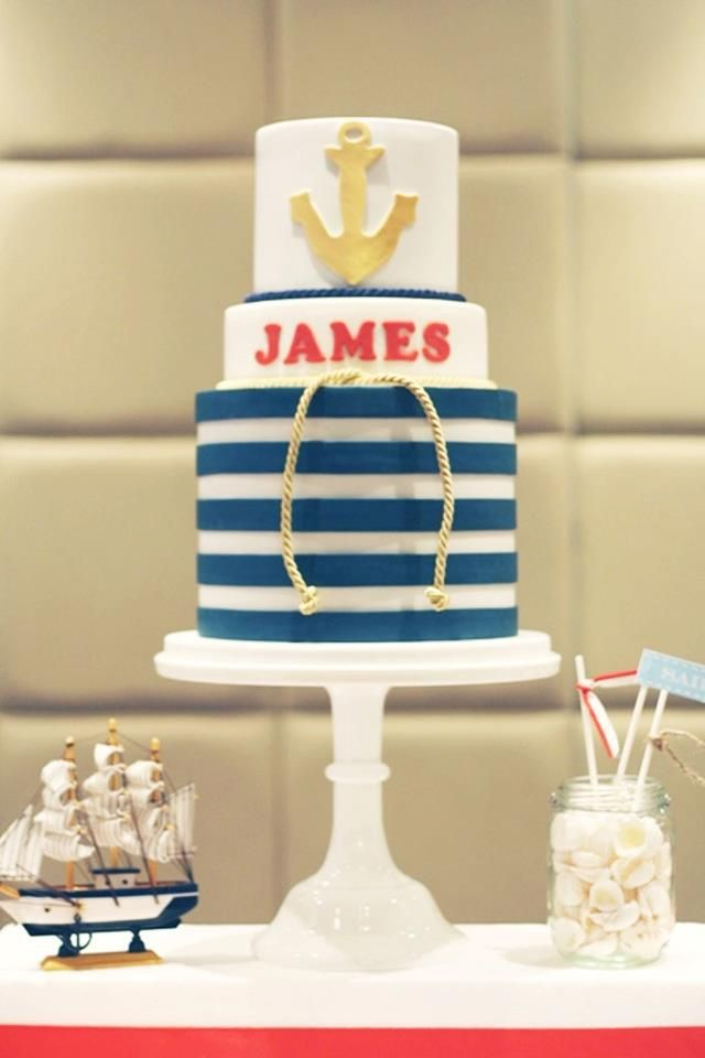 nautical wedding cake! i dk about the stripes but i love the anchor ...