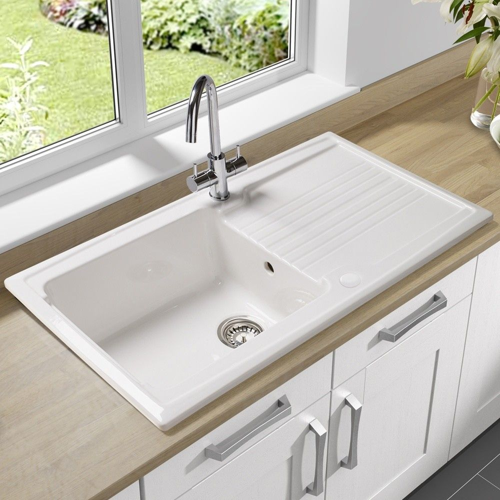Single Sink Kitchen Stone Flooring Bowl Undermount With Drain Board Made Of Porcelain In White Finish