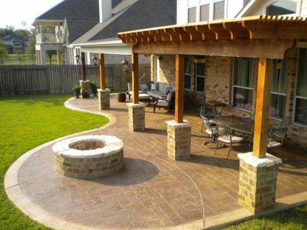 pergola patio moderne gartengestaltung ideen feuerstelle Yard