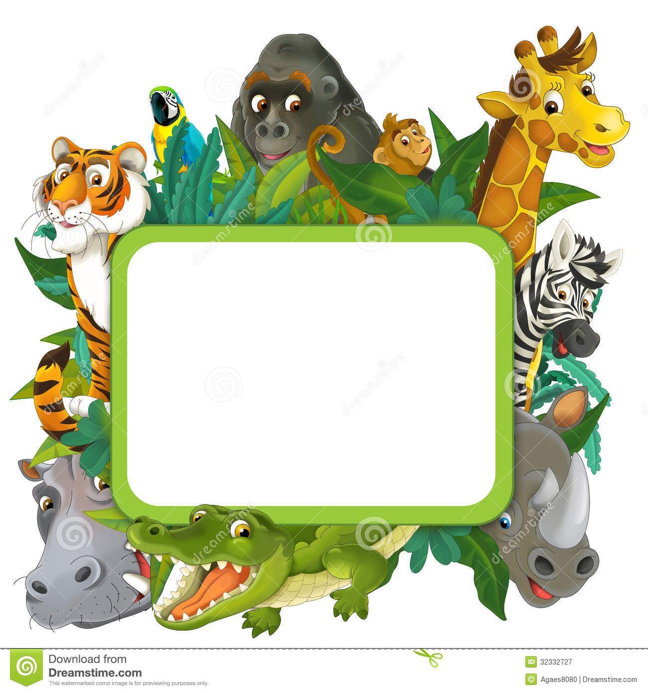 banner frame border jungle safari theme illustration children happy ...