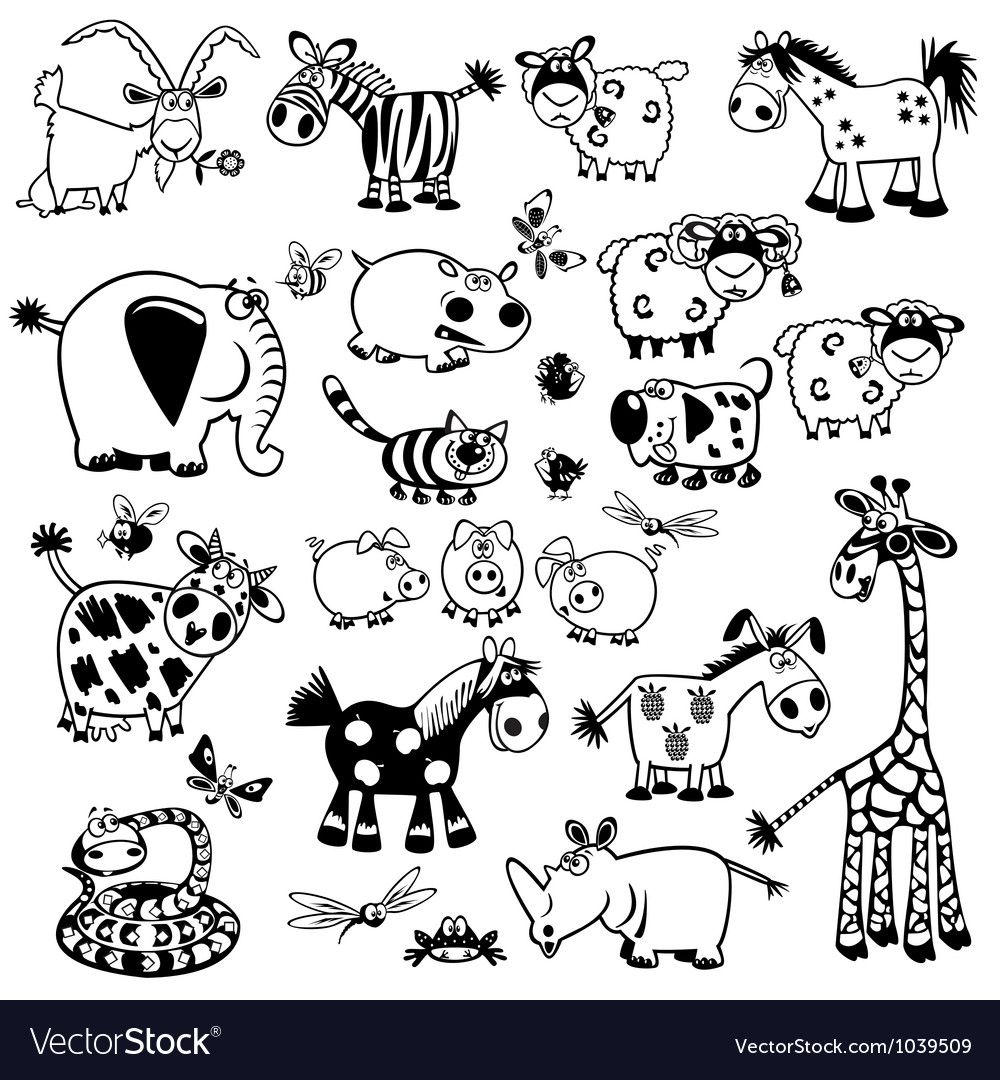 set with cartoon animals,black and white pictures isolated