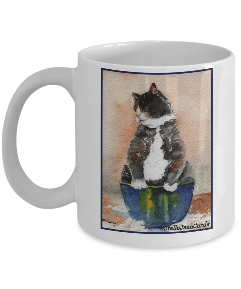 Cat in Bowl Watercolor Coffee Mug Mugs, Coffee mugs, Bowl
