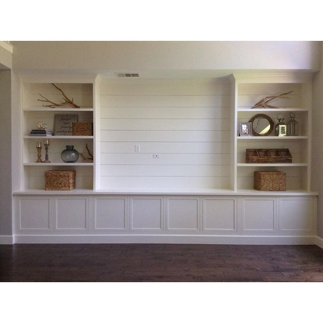 The Next Project In Is A Custom Built Entertainment Center With Shiplap And Natural Wood Shelves