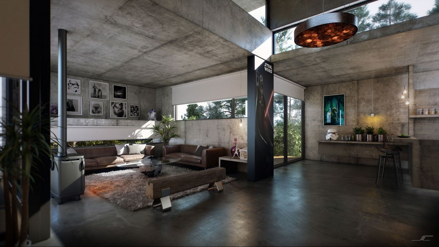Exposed concrete surfaces span the ceilings, walls, floors ...
