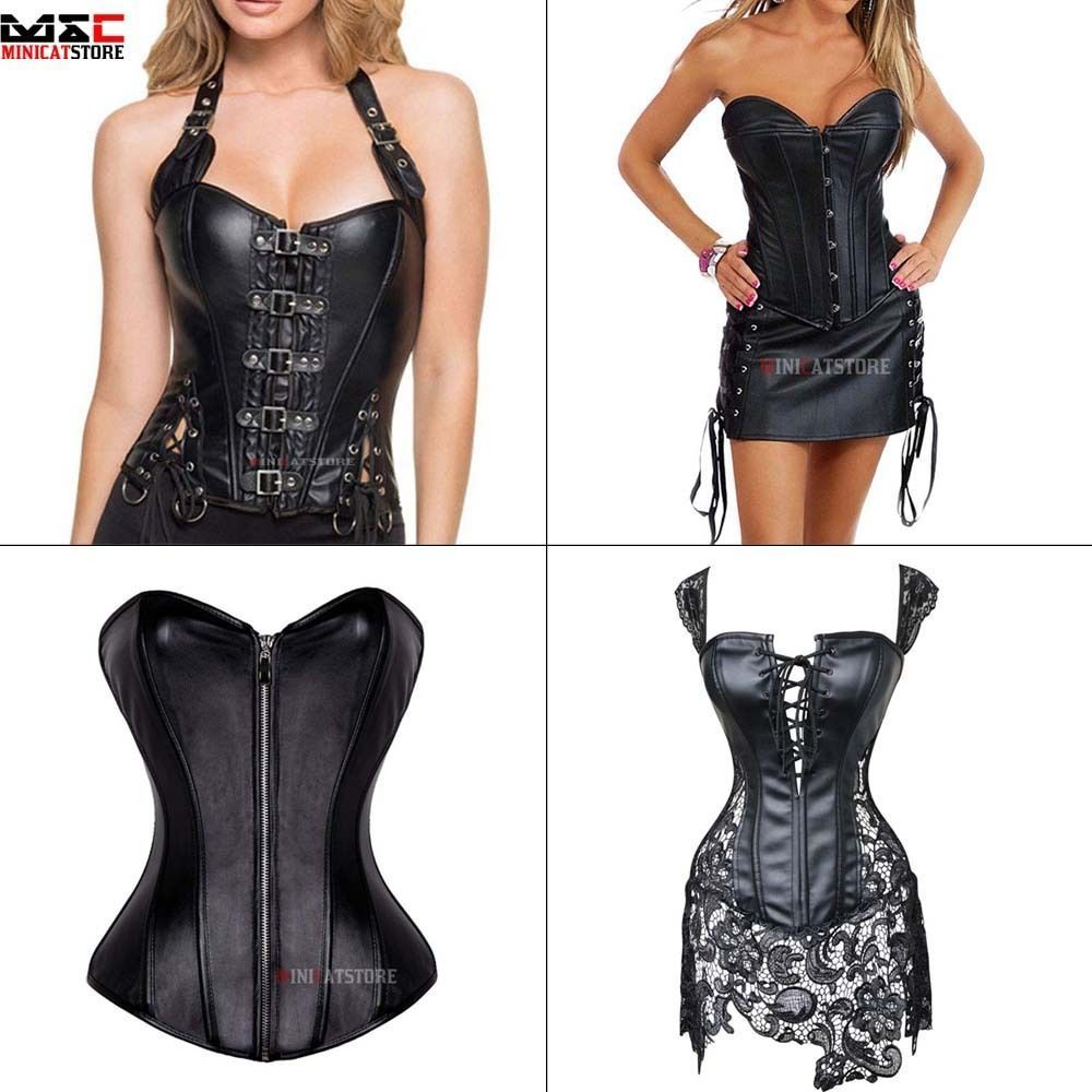 Women Overbust Basque Corset Waist Trainer Bustier Steampunk Shaper Faux Leather