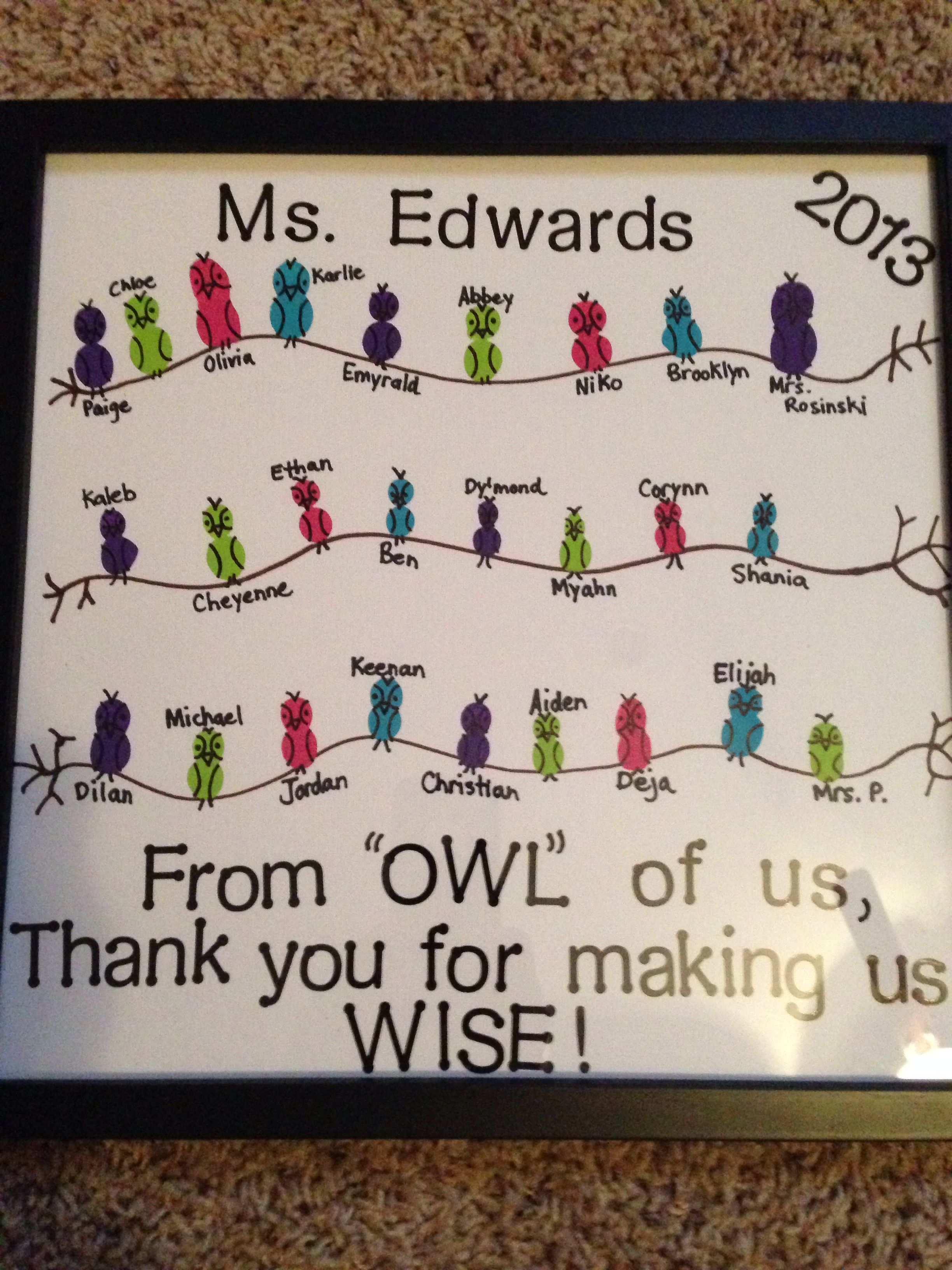 Student Teacher Gift Owl Theme