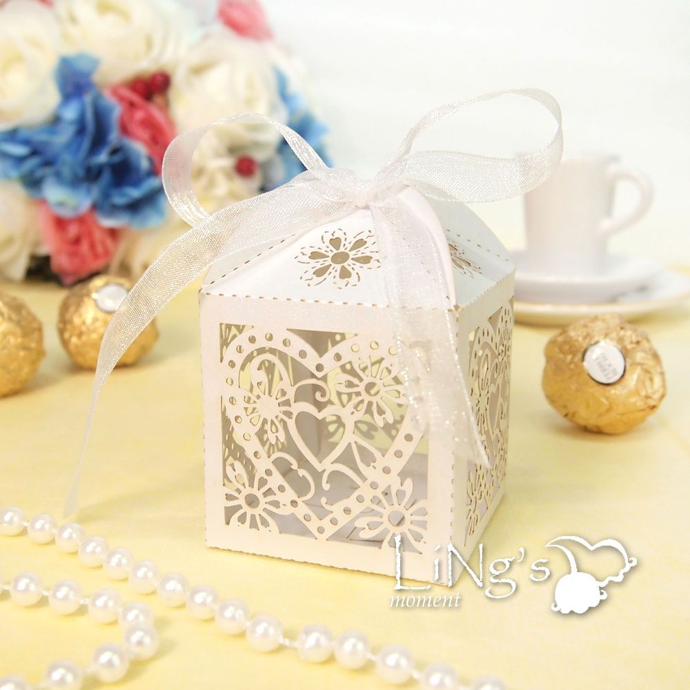 Love Heart Laser Cut Favour Gift Boxes with Ribbon Wedding Party ...