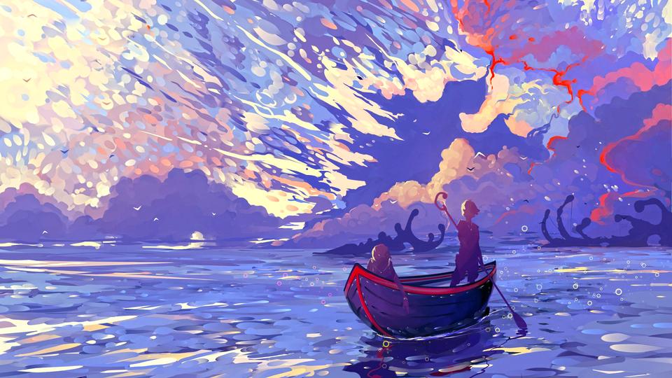 Gold Sea [2560x1440]. wallpaper in 2020 Boat artwork