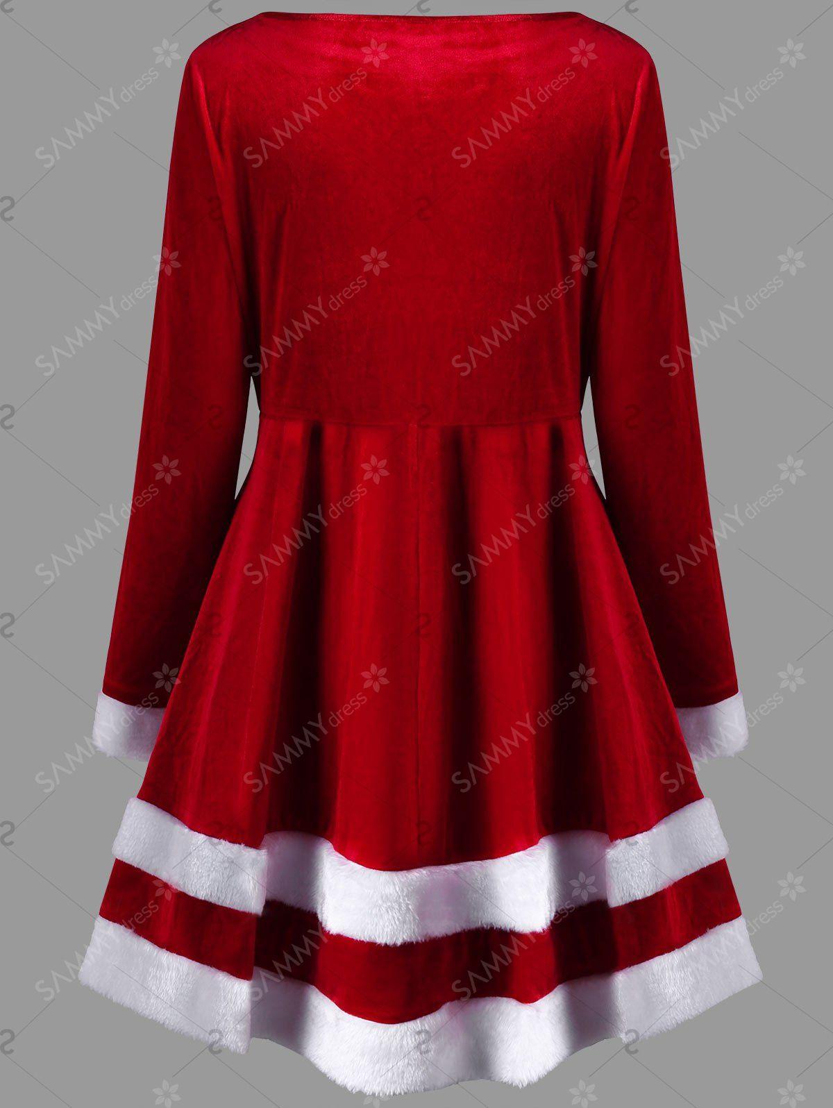 Christmas Plus Size Velvet Long Sleeve Dress in Red 5xl | Sammydress ...