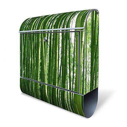 Design Briefkasten mit Zeitungsfach, Designer Motivbriefkasten mit Zeitungsrolle kaufen, für A4 Post, groß, bunt, Briefkastenschloss 2 Schlüssel, von banjado Motiv Bambus