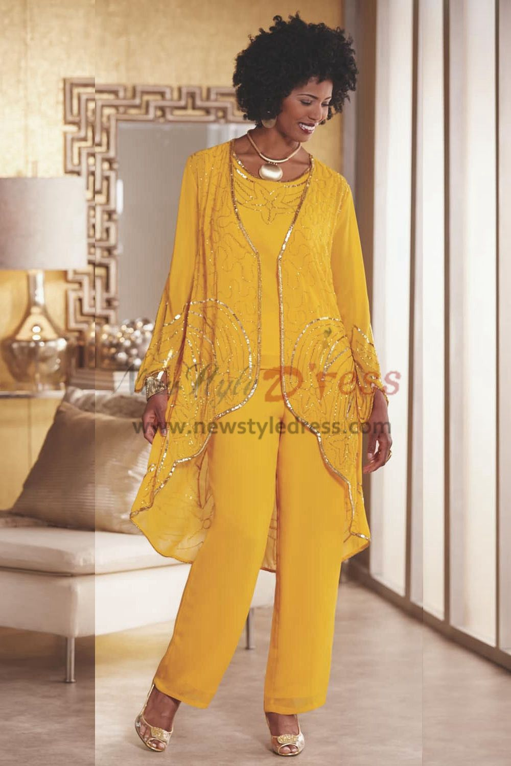 9d41ee38217dd Gold Yellow Beaded Trousers outfit Mother of the bride pant suit Wear  nmo-432