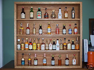 Shelf Miniature Liquor Bottle Display Case Solid Oak