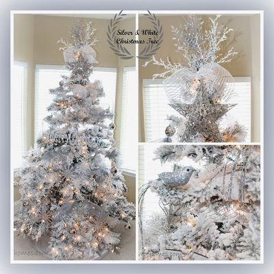 A sparkly silver  white tree Love Of Homes  Pinterest