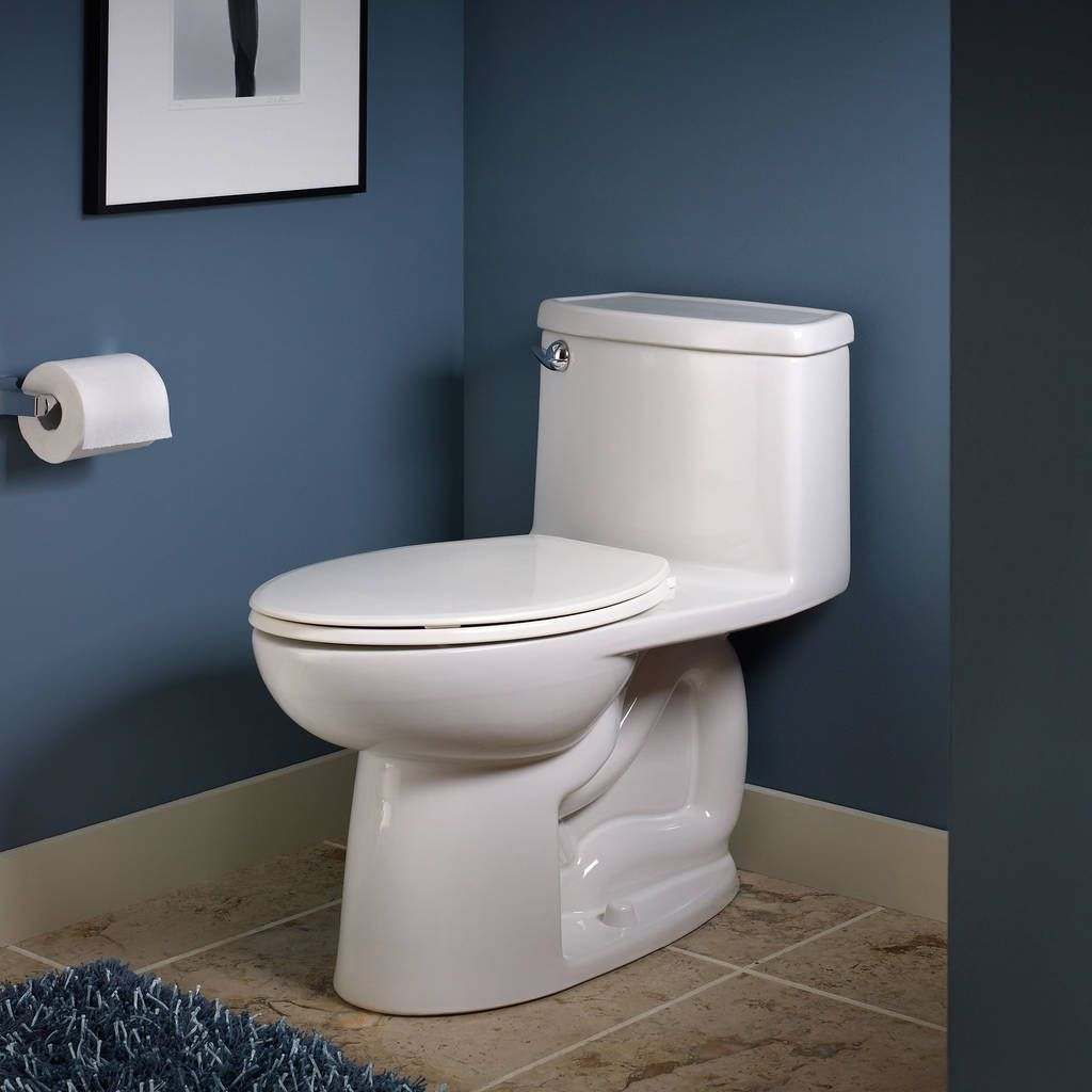 The Cadet 3 One Piece Toilet From American Standard Has A Water Saving Flow Rate Of 1 28 Gpf This Compact Toilet Fi Toilet One Piece Toilets Bathroom Plumbing