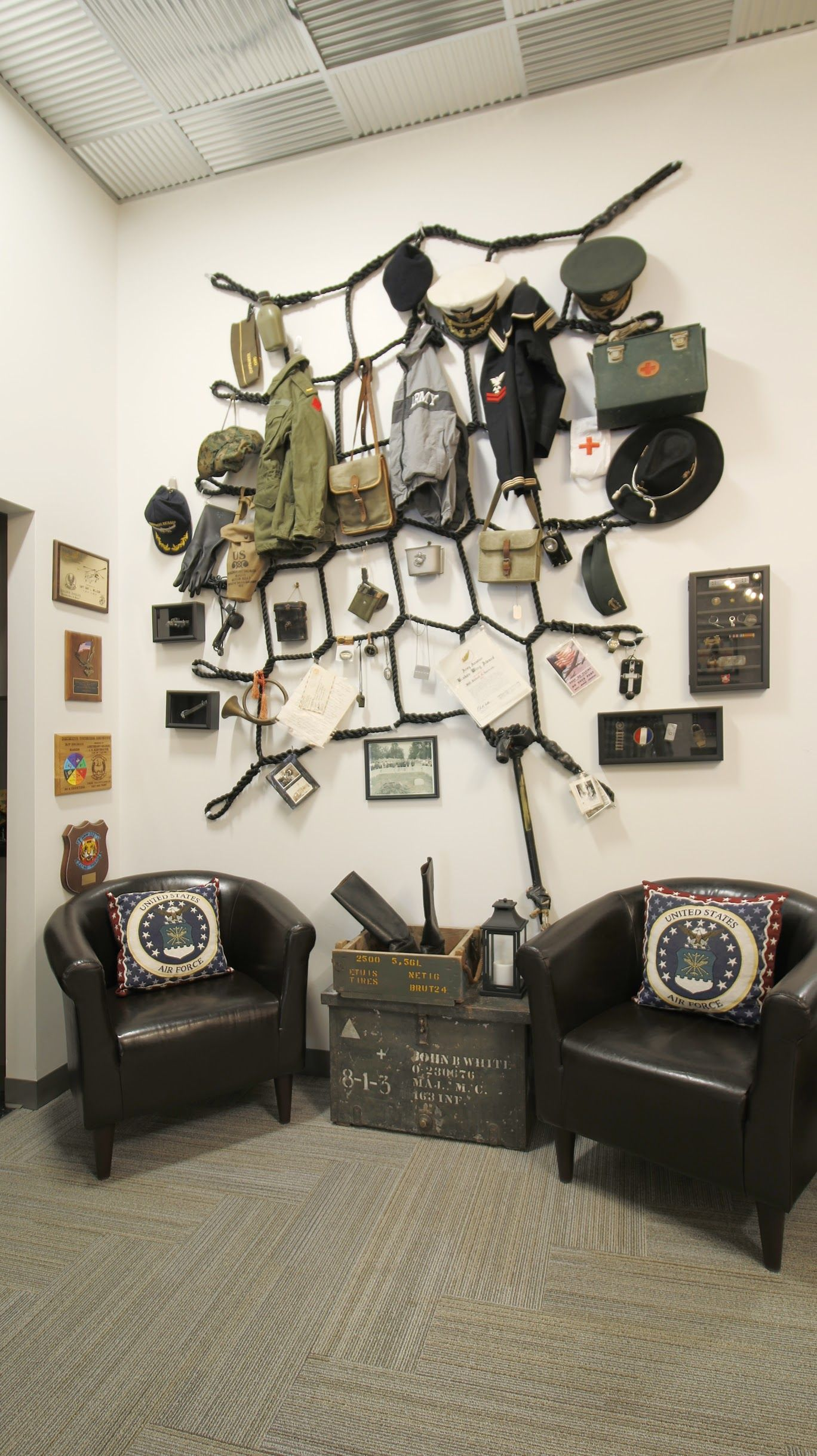 Commercial Office Design Military Themed Memorabilia Wall