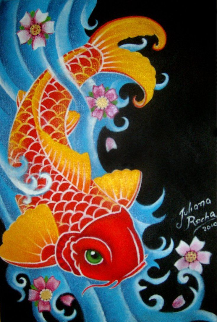 Koi fish painting | Koi fish by ~JMisfit on deviantART | Bellezas ...