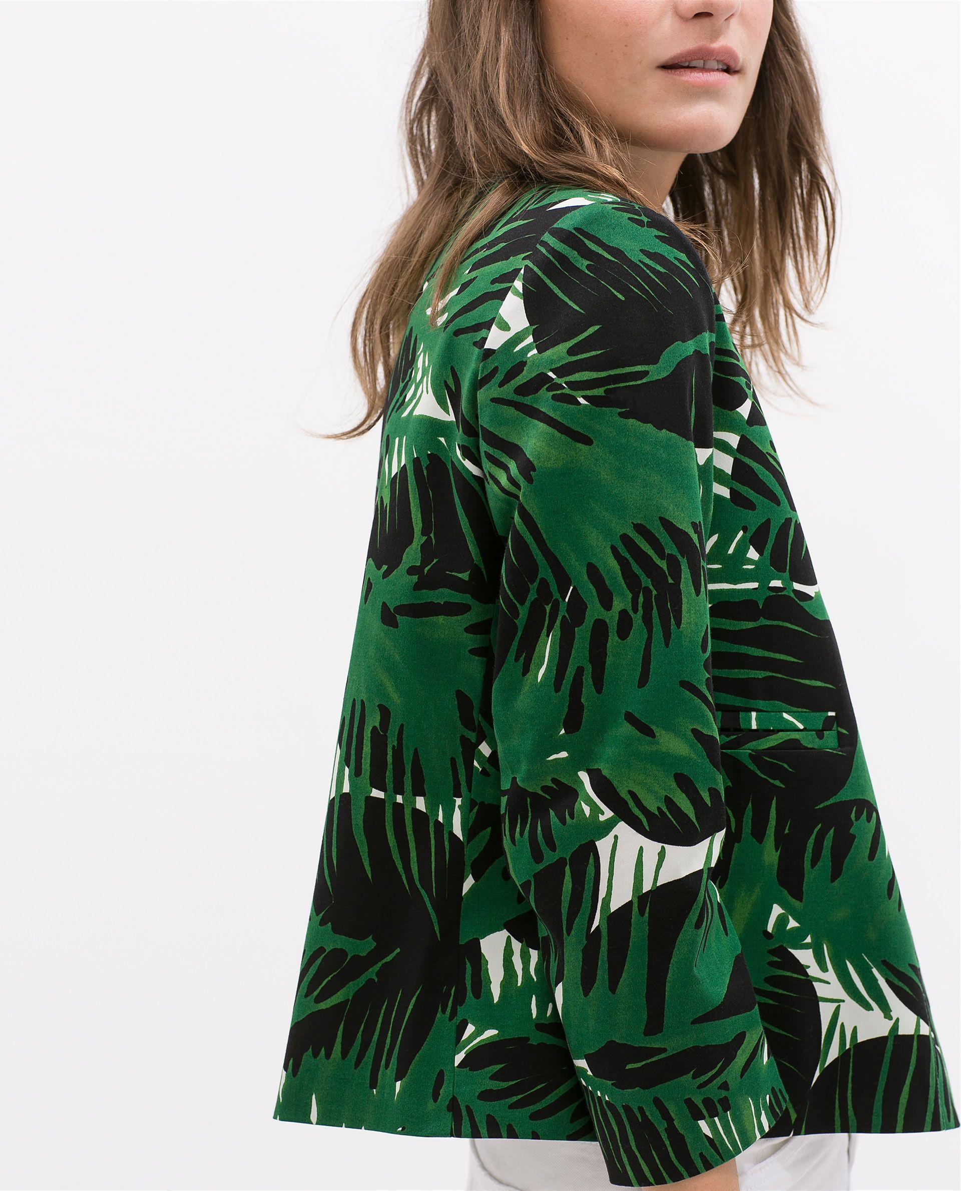 Veste Tropical Zara Feuilles À Imprimé France Vestes Femme rwqr4gT