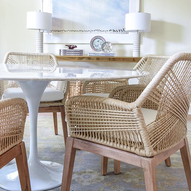 Woven Dining Chairs With White Vinyl Upholstered Seat
