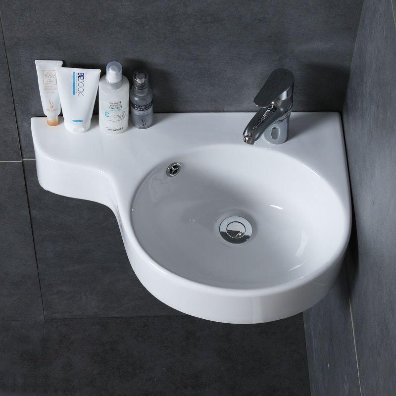 corner wall mounted bathroom basin